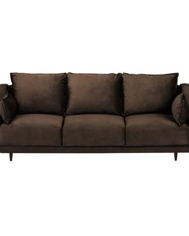 Hnedá zamatová rozkladacia pohovka s úložným priestorom Mazzini Sofas Freesia, 215 cm