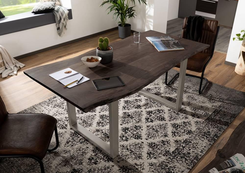 Bighome.sk METALL Jedálenský stôl so striebornými nohami 140x90, akácia, sivá