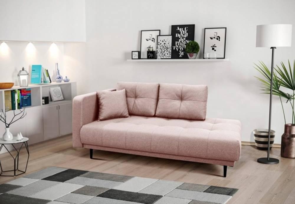 OKAY nábytok Leňoška Bony s úložným priestorom, ľavá strana, ružová
