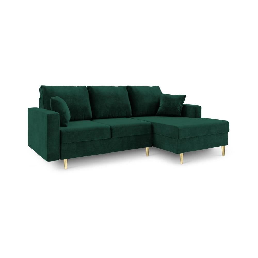Mazzini Sofas Zelená rozkladacia pohovka s úložným priestorom Mazzini Sofas Muguet, pravý roh