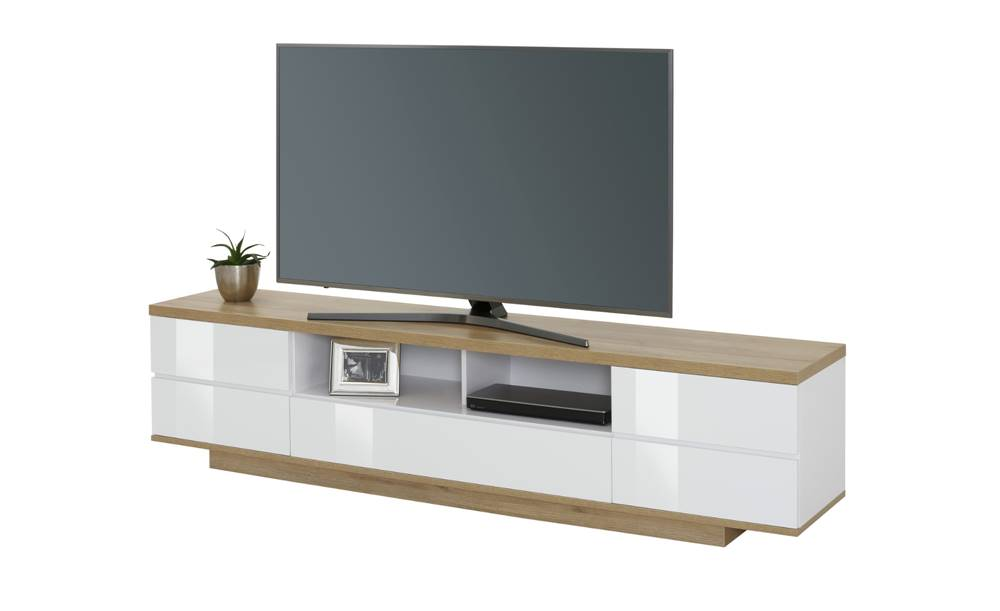 Sconto TV stolík DORIAN dub riviera/biela lesklá